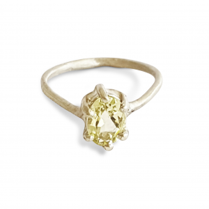 engagement ring white gold lemon quartz