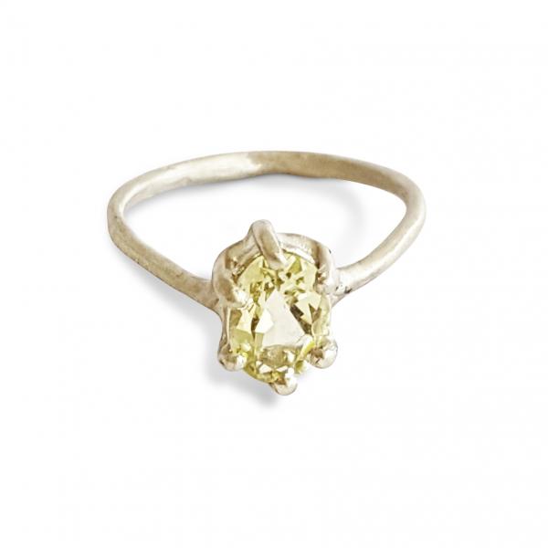 engagement ring white gold lemon quartz