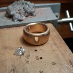 18ct gold and pear shaped diamong