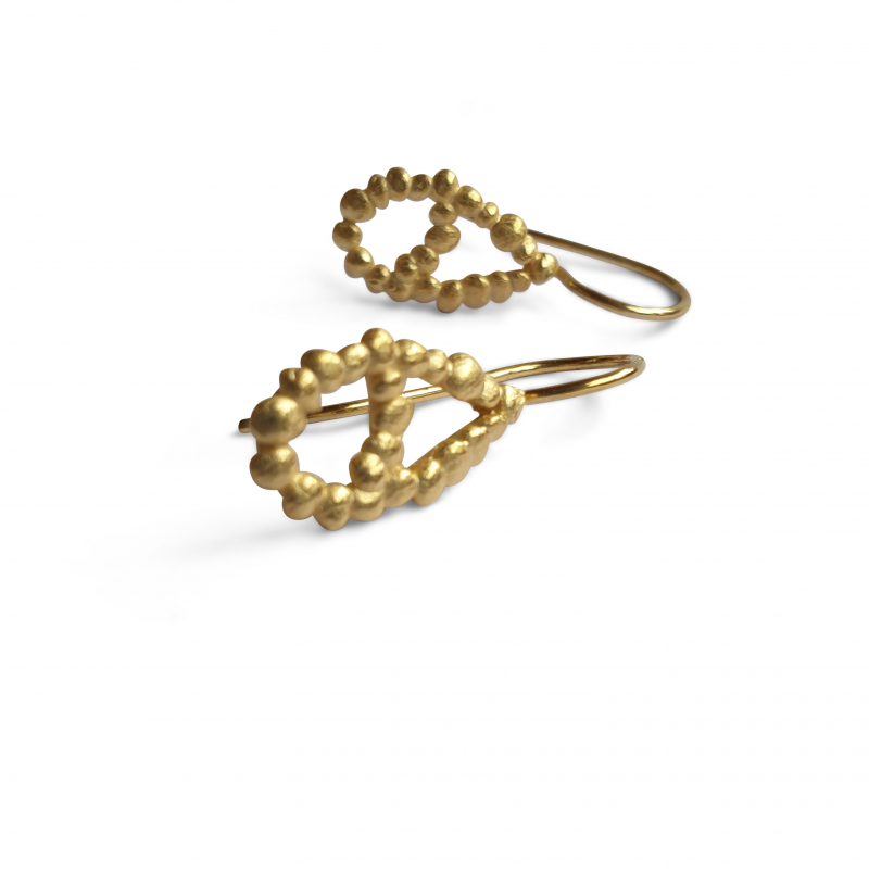 gold plated pearshaped silver dorp earrings