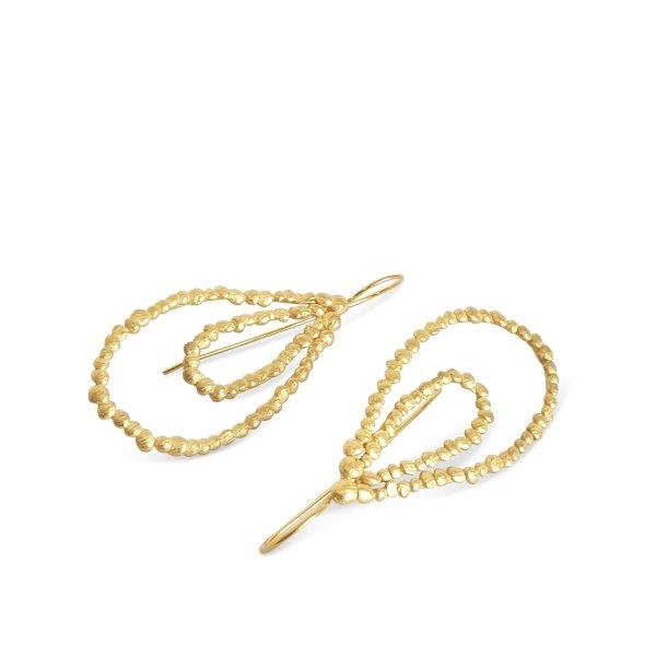 Gold plated pebbles double drop earrings