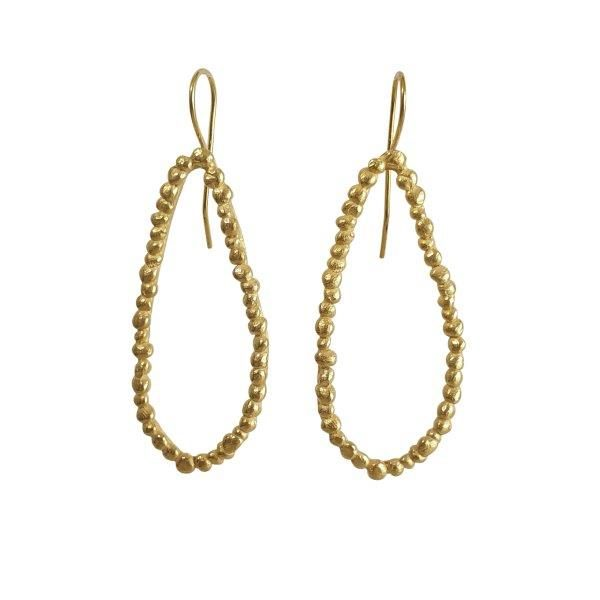 gold plated pebble single loop drop earrings