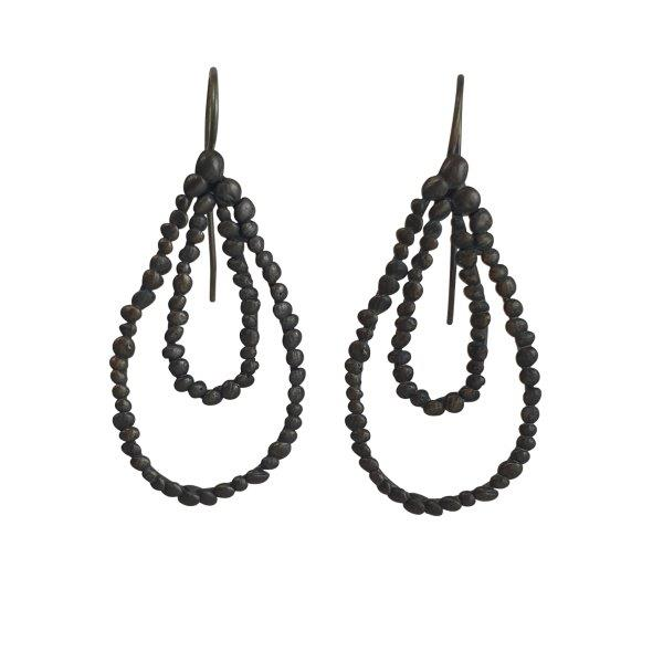 oxisided silver double loop earrings