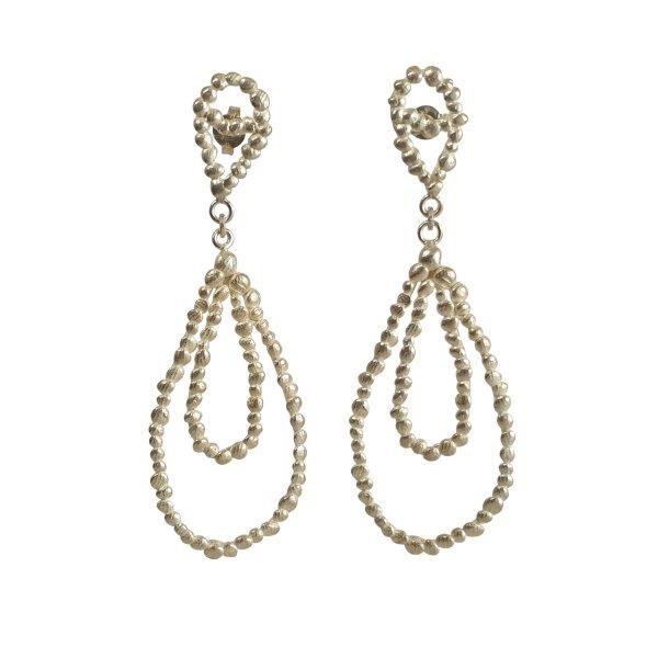 Long double drop silver pebble earrings