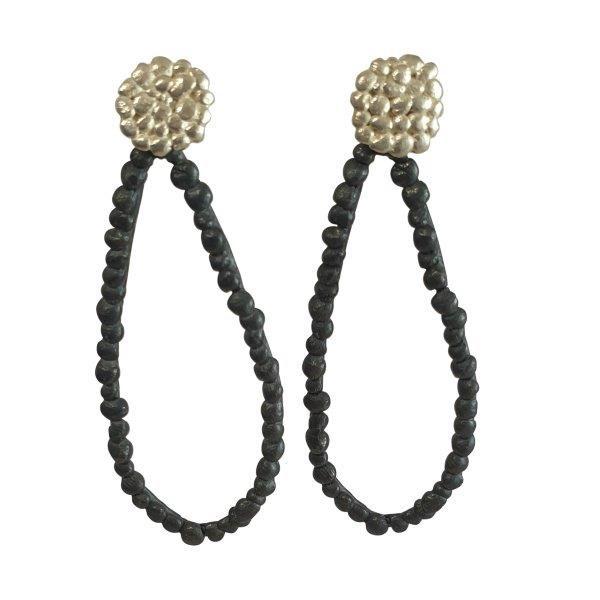 two-in-one pebble drop earrings