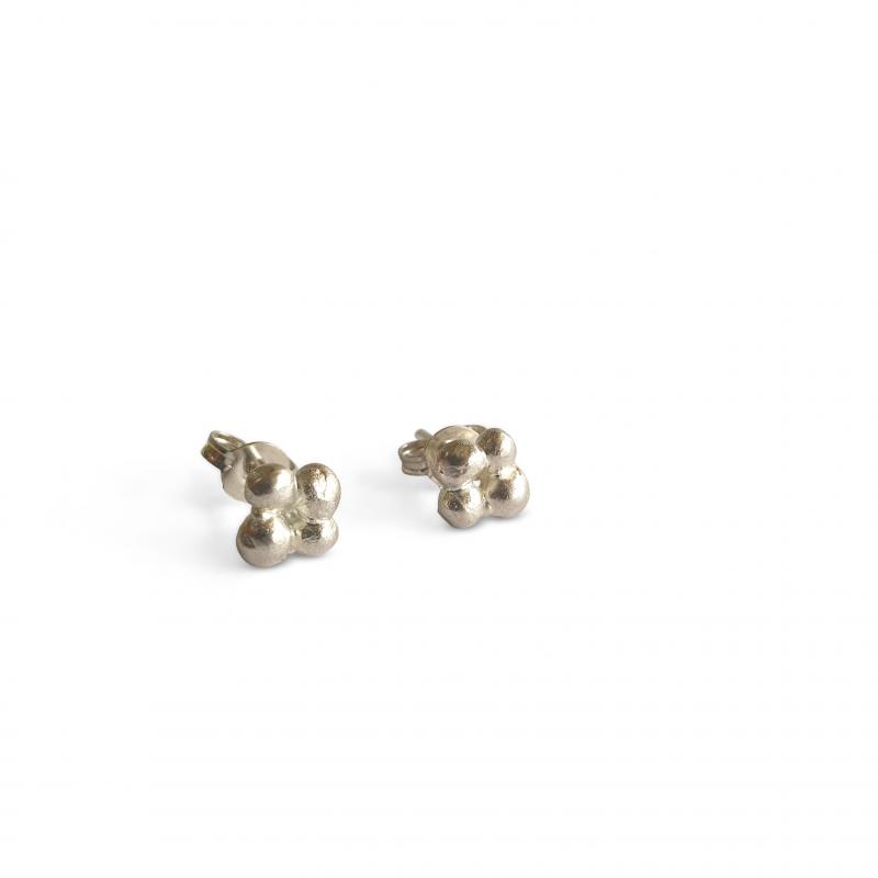 teeny silver four pebble stud earrings