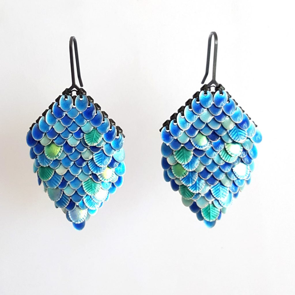 Sian Edwards blue sequin earrings