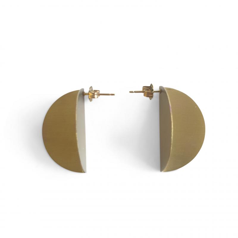 Vanessa Williams folded disc titanium earrings