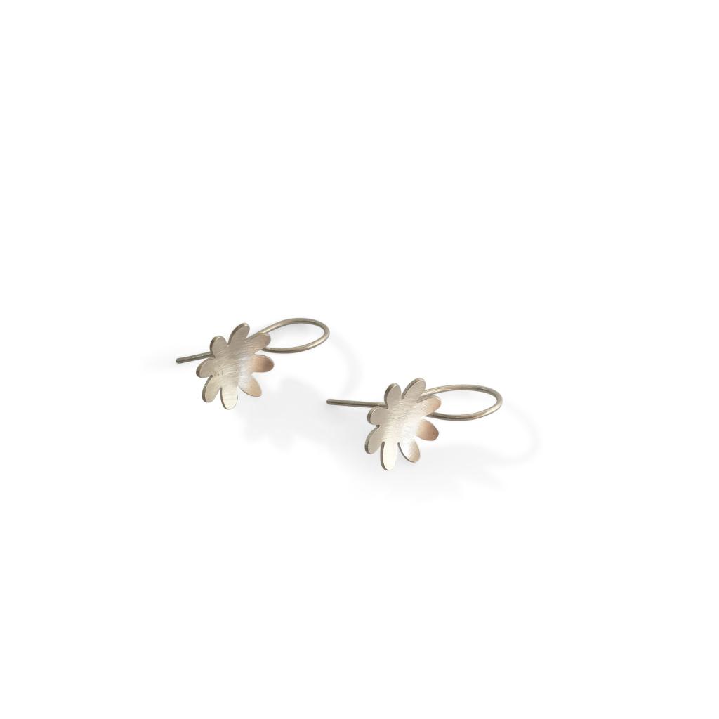 8 petal silver drop earrings