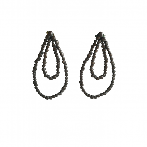 oxidised sterling silver double drop studs