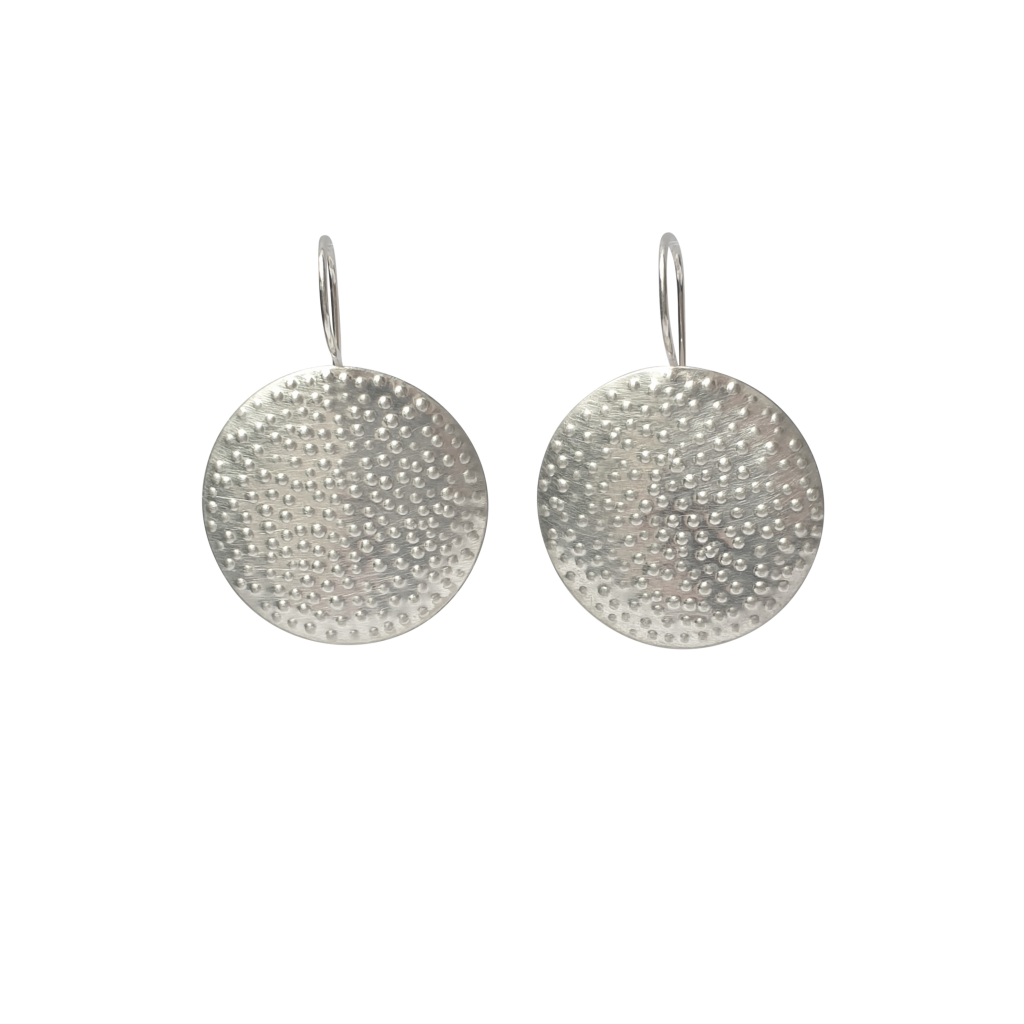 large silver dotted earrings