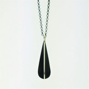 droplet blackened silver necklace
