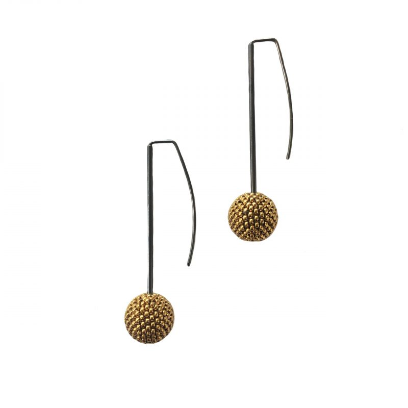 gold ball drop earrings