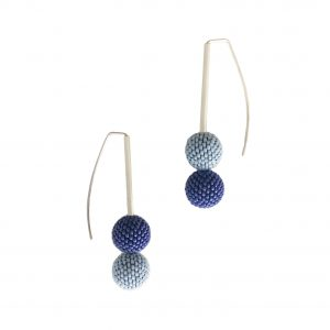 double blue handmade beaded ball earrings
