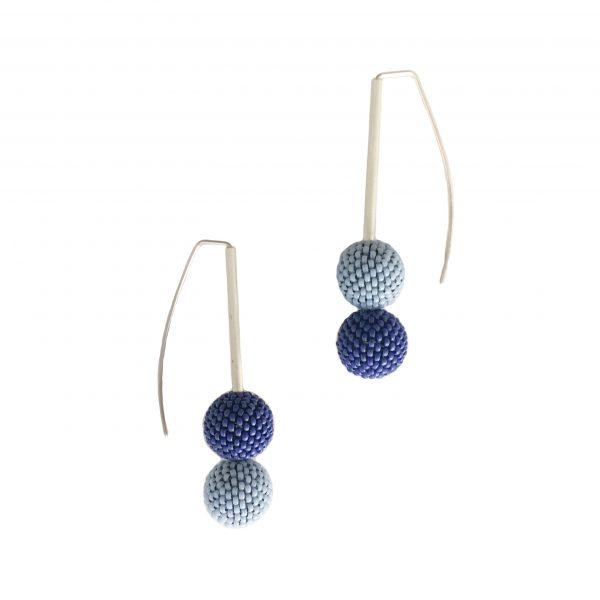 double blue handmade beaded ball earrings