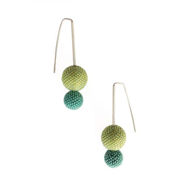 green double hand beaded ball earrings
