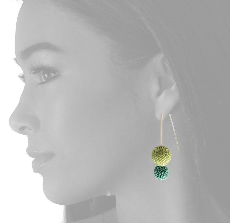 double green bead ball earrings on body