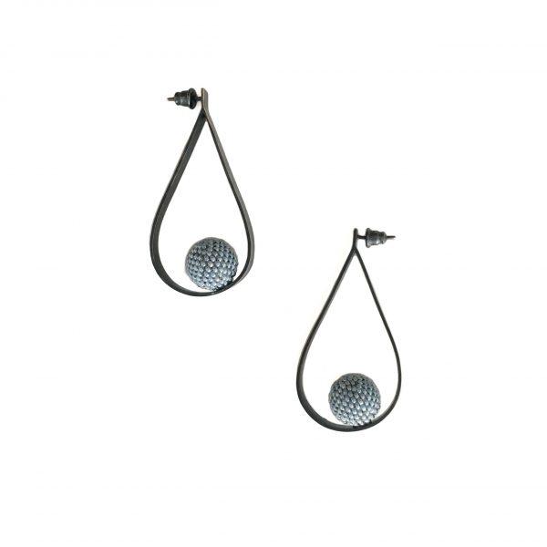 loop blue beaded ball earrings