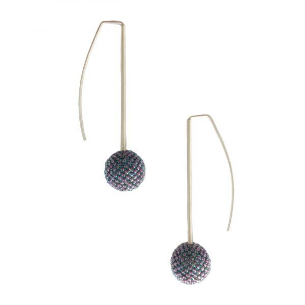 mauve single beaded ball earrings