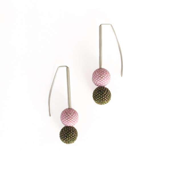 pink and green beaded ball earrings