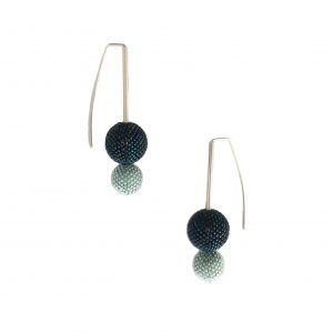 teal double drop ball earrings