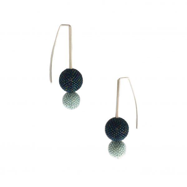 teal double drop ball earrings
