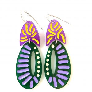 purple/green gormanlike earrings