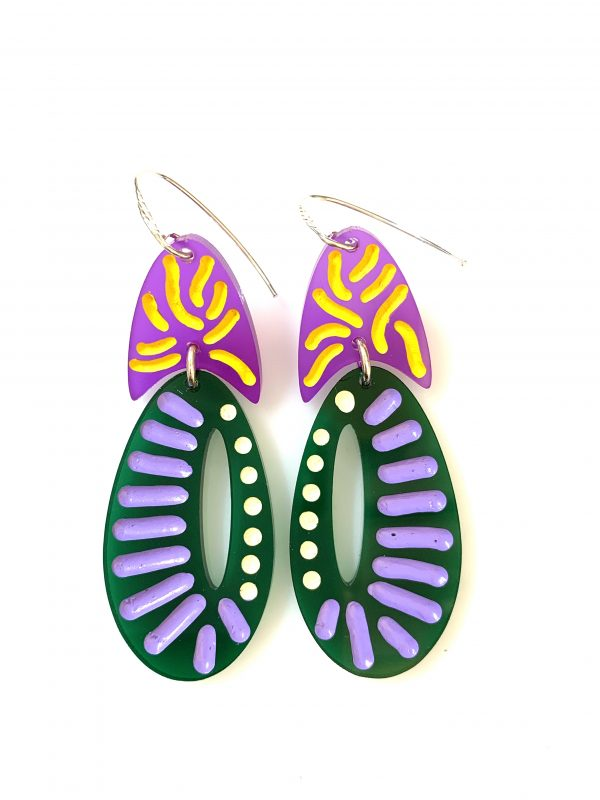 purple/green gormanlike earrings