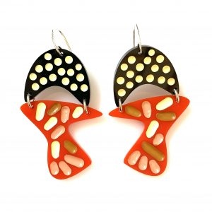 black red acrylic earrings