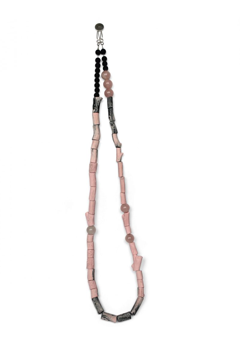 pink and grey neckpiece