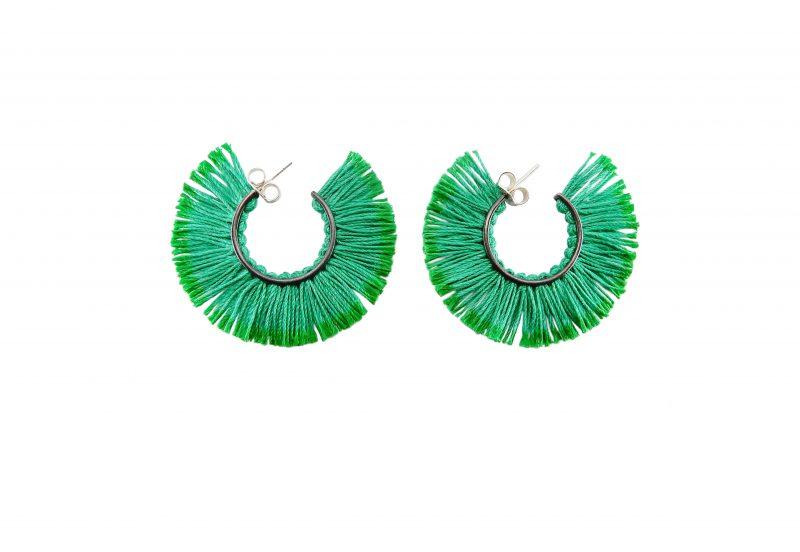 vicki mason green fringed earrings