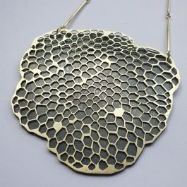 gold, beeswax, oxidised copper
