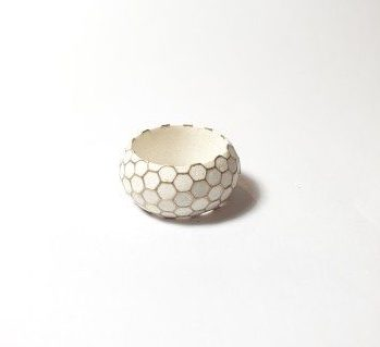 gold and wax honeycomb ring